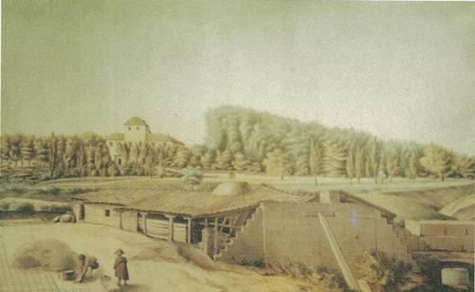 La Quinta de Miranda en Carabanchel Alto acuarela de Juan Mieg (1818-1820) WEB
