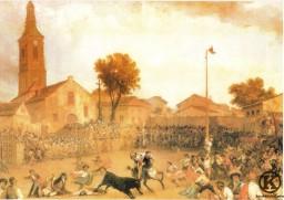 """""""Toros y cucaña en Carabanchel Alto"""" Pintura de Eugenio Lucas Velázquez (1865) WEB"""