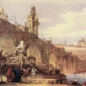 Puente de Toledo visto por el dibujante inglés David Roberts (1837)