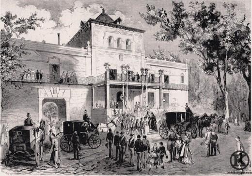 Grabado de la llegada de la emperatriz Eugenia al Palacio de Miranda (1871)