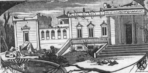 Grabado del Palacio del Marqués del Salamanca tras el tornado del s. XIX