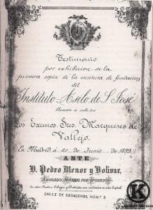 Primera copia de la escritura del Instituto Asilo San José (1899)