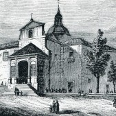 Ermita de San Isidro Labrador, construida en 1725 en sustitución de una anterior del siglo XVI. Grabado de la crónica de la provincia de Madrid de Rossell, 1865.