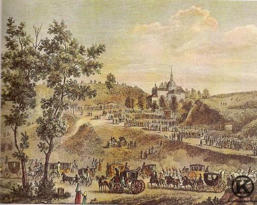 Grabado de la ermita y romería de San Isidro (s. XIX)