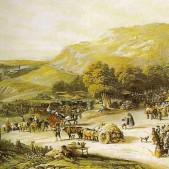 Grabado de la pradera y romería de San Isidro (1836)
