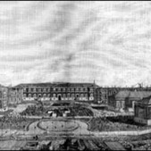 Vista general del Hospital militar de Carabanchel hacia 1896. La Ilustración Española y Americana, 22 julio 1896
