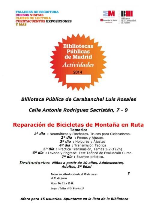 Reparación de bicicletas de montaña biblioteca Luis Rosales