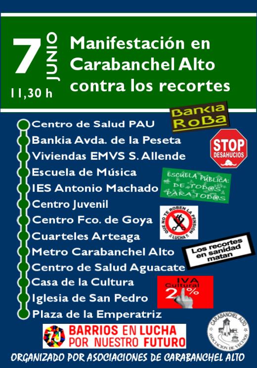 Cartel 7J con pegatinas y logo AAVV y Barrio en lucha