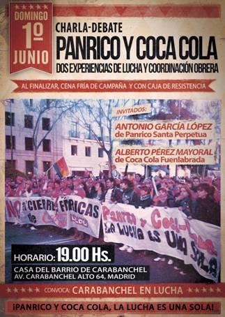 Charla –Debate Panrico y Coca Cola, dos experiencias de lucha y coordinación obrera  Cena  1 de junio
