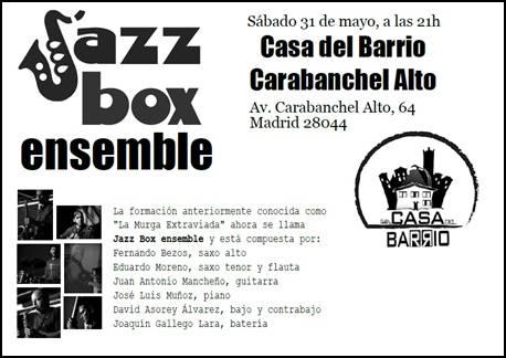 SÁBADO 31 de MAYO concierto jazz