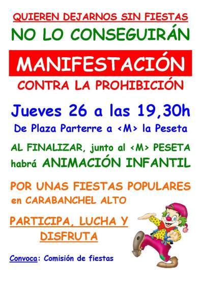 Cartel manifestacion fiestas