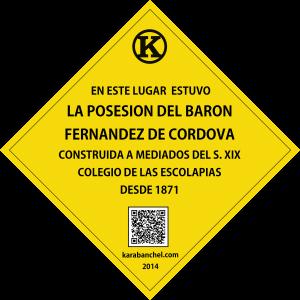 Placa 13 girada. Posesión del Barón Vicente Fdez. de Códoba y Escolapias Codigo