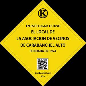 Placa 14 girada. Asociación de Vecinos de Carabanchel Alto