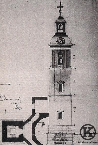 Planta y alzado del proyecto de la torre de la Iglesa de San Pedro (Manuel Martín Rodríguez, 1776)