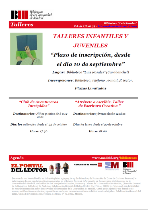Talleres infantiles y juveniles biblioteca Luis Rosales