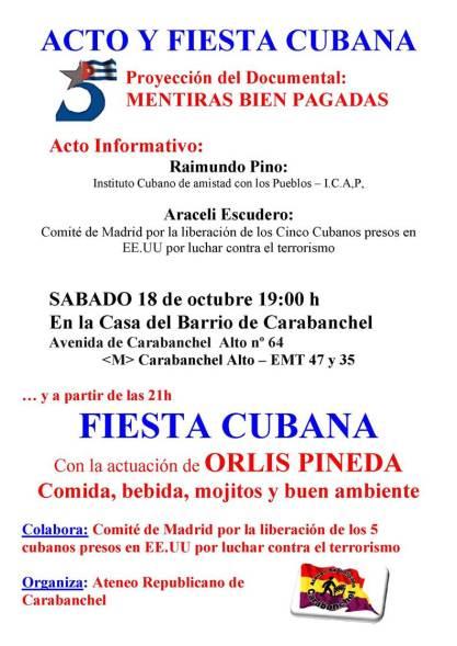 Acto y fiesta cubana 18 de octubre casa del barrio