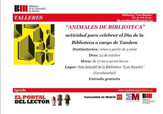 Animales en la biblioteca Luis Rosales 24 de octubre