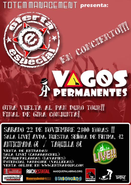 Vagos permananentes y Oferta Especial Sal Live 22 noviembre