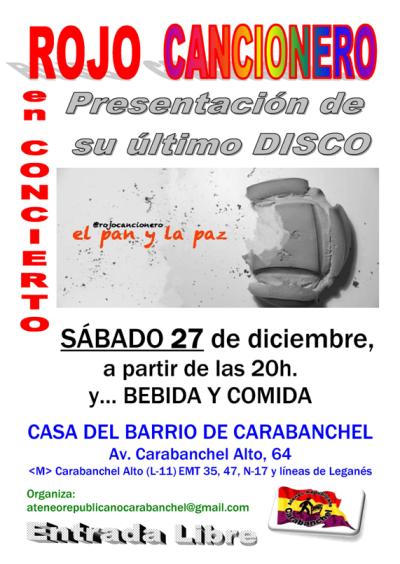 Rojo Cancionero 27 de diciembre Casa del Barrio