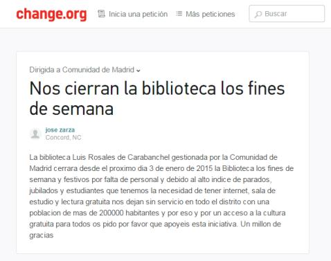 Biblioteca Luis Rosales fines de semana cierre 2015