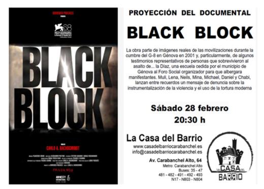 Proyección del documental Black Block en La Casa del Barrio el 28 de febrero