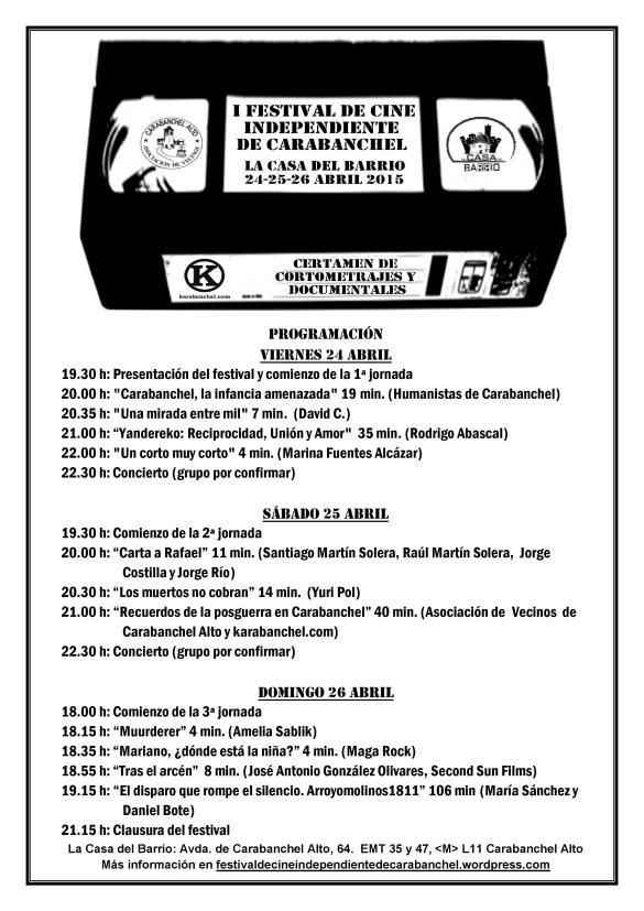 Programación del Festival de Cine Independiente de Carabanchel