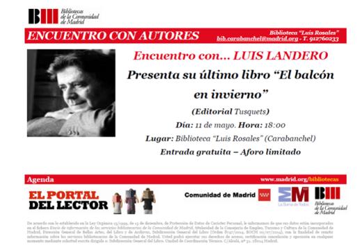Encuentro con Luis Landero biblioteca Luis Rosales 11 de mayo