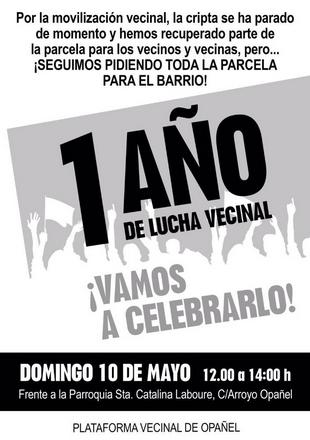 Primer aniversario de la Plataforma de Opañel el 10 de mayo