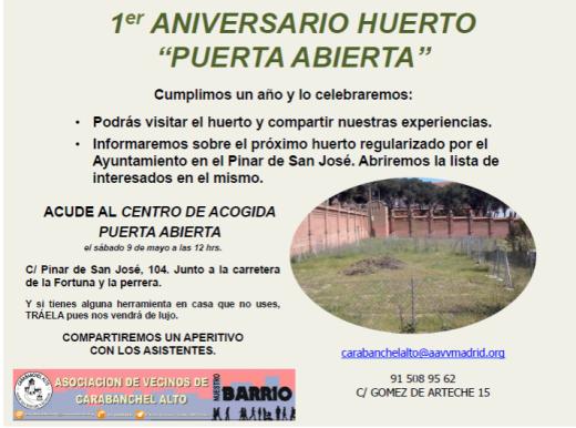 Primer aniversario Huerto Urbano Puerta Abierta el 9 de mayo