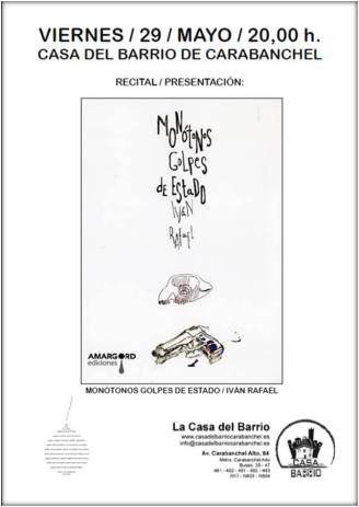 Recital - presentación Monótonos golpes de estado de Iván Rafael