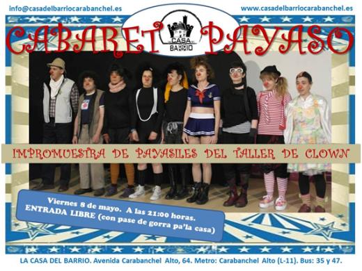 Viernes 8 de mayo Cabaret Clown Casa del Barrio