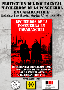 Cartel proyección Documental Recuerdos de la Posguerra en Carabanchel