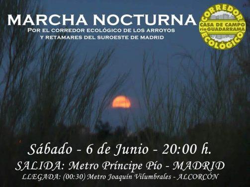 Marcha nocturna 6 junio Corredor ecologico Casa de campo rio de Guadarrama