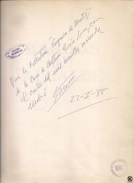 Dedicatoria Casa de la Cultura firmada de Enrique Tierno Galván libro Bandos del alcalde (1985)