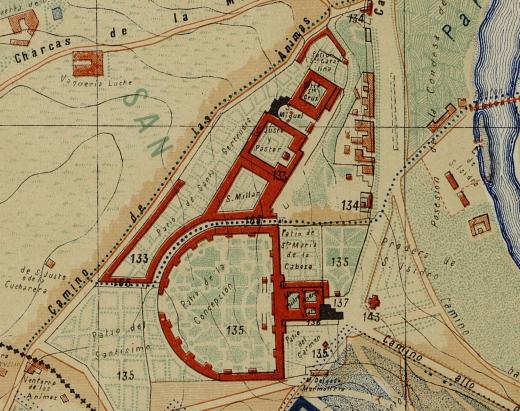 Sacramental de San Isidro en el mapa de Facundo Cañada (1902)