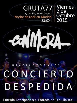 Concierto de despedida de Con Mora el 2 de octubre