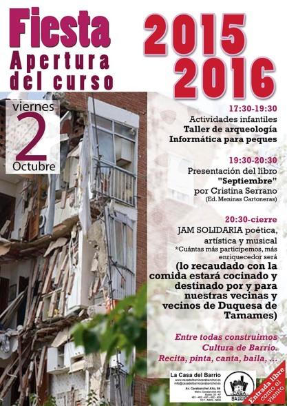 Viernes 2 de Octubre  Jornada de repaertura de la casa del barrio