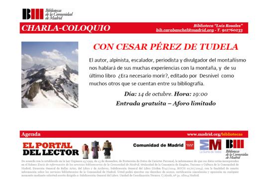 Charla coloquio con el alpinista Cesar Pérez de Tudela en la biblioteca Luis Rosales