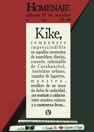 Homenaje a Kike en el EKO el 17 de octubre