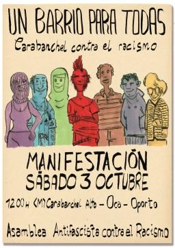 Manifestación Un barrio para todas Carabanchel contra el racismo 3 de octubre