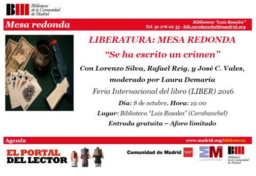Mesa Redonda Se ha escrito un crimen Lorenzo Silva, Rafael Reig biblioteca Luis Rosales