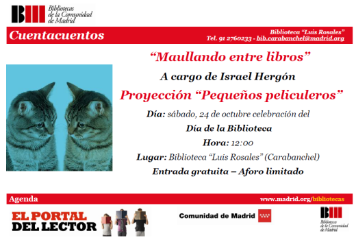Proyección de Pequeños peliculeros 24 de octubre en la biblioteca Luis Rosales