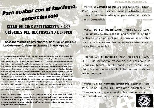 Ciclo de cine antifascista en La Gatonera en noviembre
