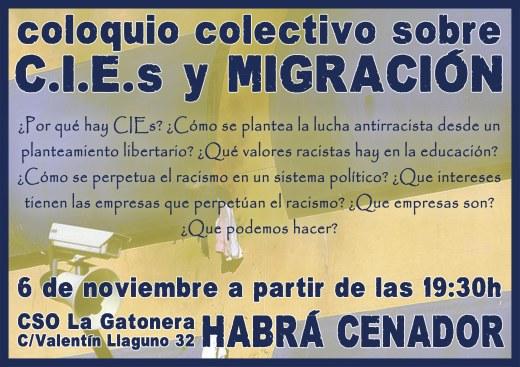 Coloquio Colectivo sobre CIEs y migración el 6 Noviembre en La Gatonera