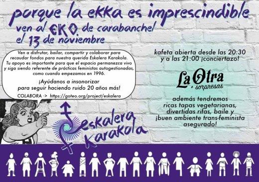 Fiesta por la Eskalera Karakola el 13 de noviembre en el EKO