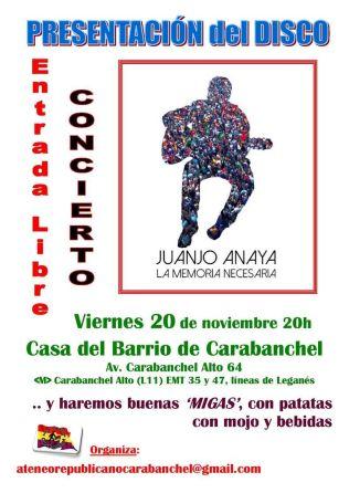 Juanjo Anaya en La Casa del Barrio el 20 de noviembre