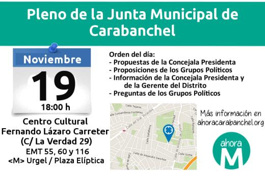 Pleno de la Junta Municipal de Carabanchel el 19 de noviembre en el C.C. Lázaro Carreter