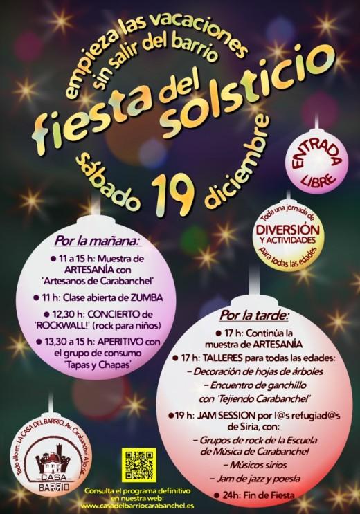 Fiesta del Solsticio el 19 de diciembre en La Casa del Barrio