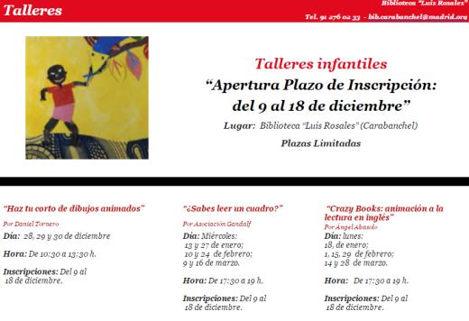 Talleres infantiles biblioteca Luis Rosales