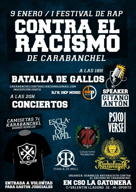 Festival de rap contra el racismo el 9 de enero en CSO La Gatonera